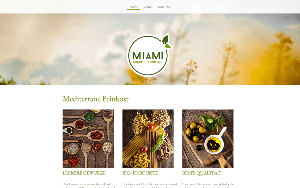 Store Delikatessen Webshop Design
