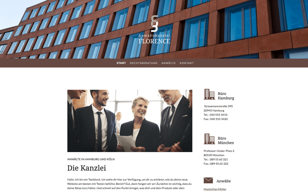 Anwaltskanzlei Website Design