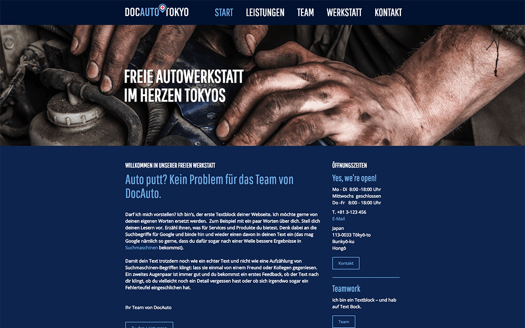 Autowerkstatt Website Design