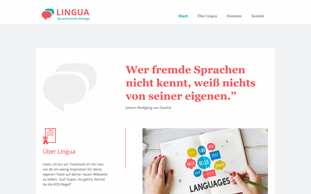 Sprachunterricht Website Design