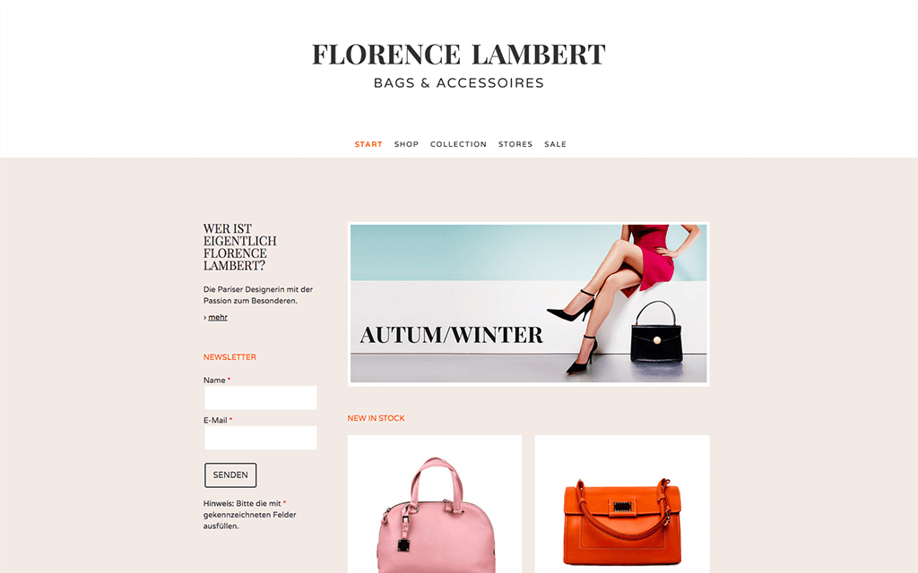Taschenshop Website Design