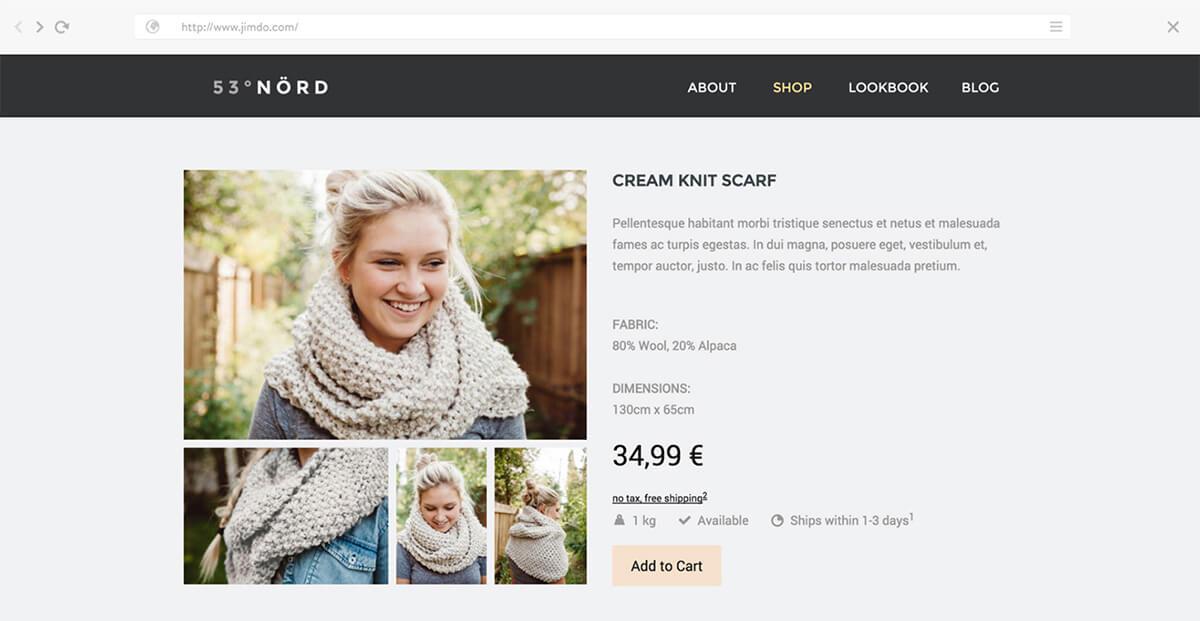 Siti e-commerce Jimdo di esempio